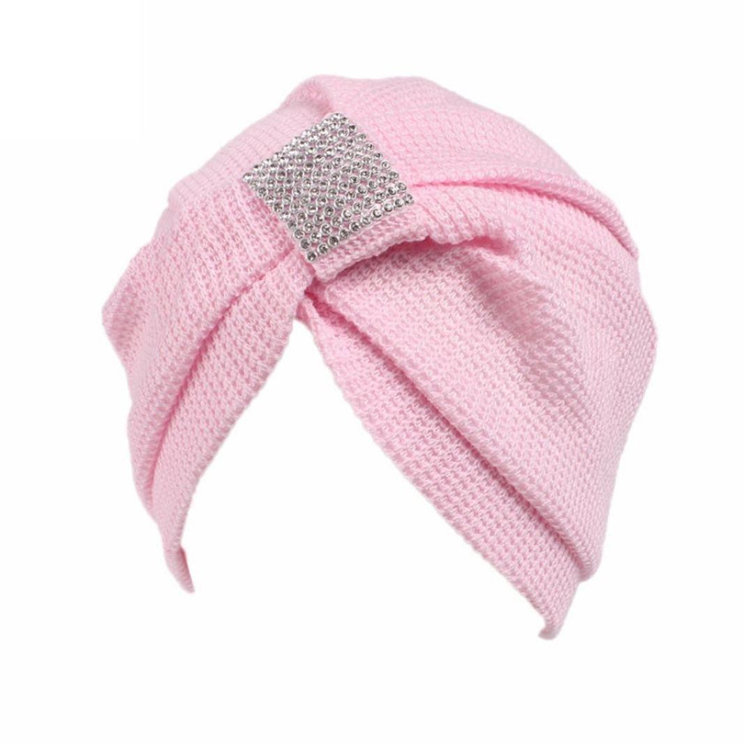 hunpta Mujer cáncer Chemo gorro de punto bufanda turbante Pañuelo para la cabeza Cap, rosa