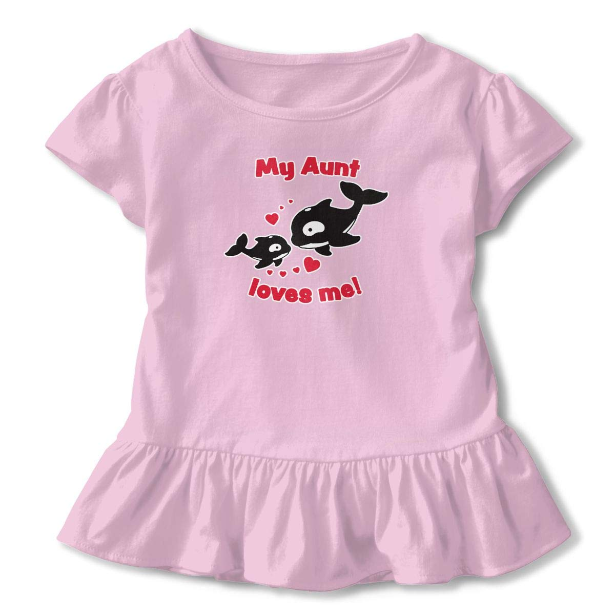 My Aunt Loves Me Toddler Baby Girl Ruffle Short Sleeve T-Shirt Cute Cotton T Shirts