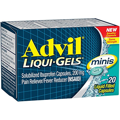20 Liquid Capsules - Advil Liqui-Gels Minis (20 Count) Pain Reliever/Fever Reducer Liquid Filled Capsule, 200mg Ibuprofen, Temporary Pain Relief