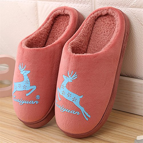 GreatParagon Paragon Women Men House Plush Slippers Cotton-Padded Warm Slippers Indoor Anti-Slip Shoes Couple Slippers 04 Red ZLTUEi