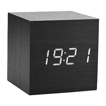 Reloj de alarma LED digital, reloj de madera para habitaciones Reloj de madera moderno 3 niveles Pantalla de temperatura de brillo con control de ...