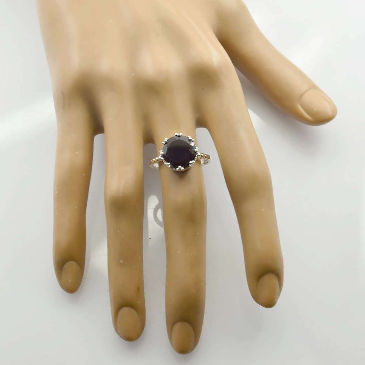 jents Jewelry Good Item Gift for Girlfriend Bohemian Lucky Gemstone Round Faceted Garnet Ring 925 Sterling Silver Red Garnet Lucky Gemstone Ring