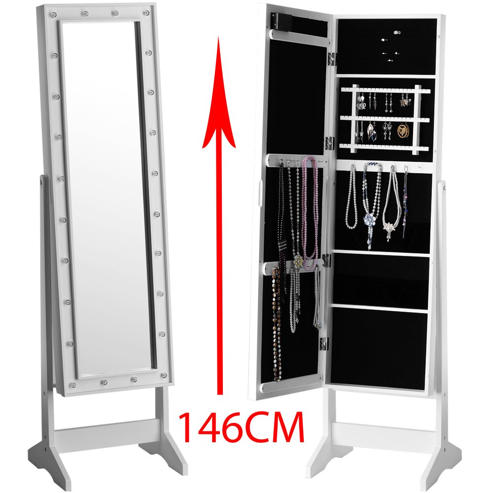 Jewellery Cabinet Uk Standing Mirror Jewellery Cabinet With Led Lighting 163 Cm White