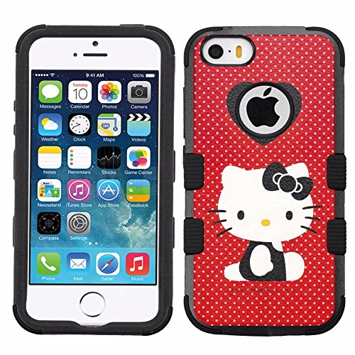 for iPhone SE/5/5s, Hard+Rubber Dual Layer Hybrid Heavy-Duty Rugged Armor Cover Case - Hello Kitty #Polka - 5s Case Hello Kitty