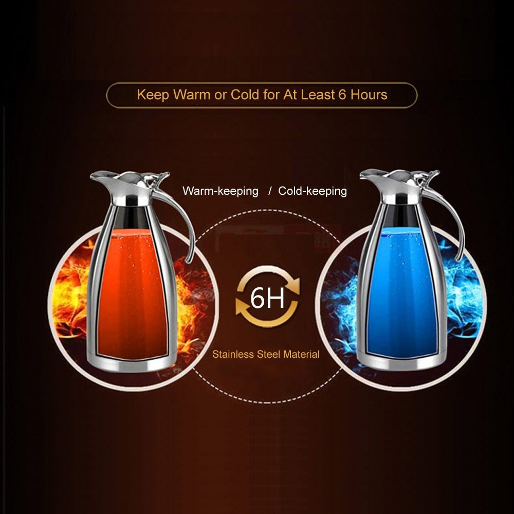 2 Liter Hot Tea//coffee Pots Wealers Daily Vacuum Jug Double Vacuum Insulated- Stainless Steel Cool to Touch-coffee Carafes Elegant Tea//coffee Accessory Server 68 Ounce Serving Pitchers