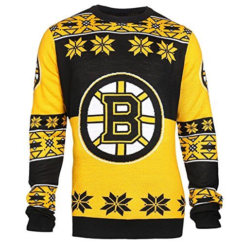 NHL Boston Bruins Unisex NHL Big Logo Ugly Crew Neck Sweater, Small