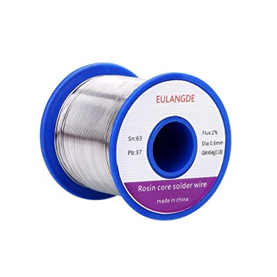 EULANGDE 63-37 Tin Lead Rosin Core Solder Wire with High Fluidity and Gloss and to Nice Shiny Joints For Electrical Soldering 0.5mm 0.6mm 0.8mm 1.0mm 50g 100g 1lb (0.6mm/1lb)