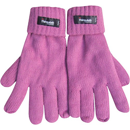 Tipless Gloves (Women's Fleece Lined Thermal Thinsulate Gloves with Turnover Cuff (Rose Pink))