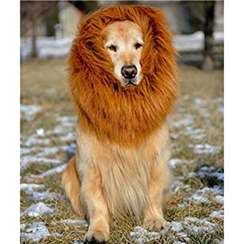 Kangcheng Lion Mane para Perro-Mascota Pelucas de león del león Mane Hair Party Fancy Christmas Halloween Clothes Ajustable Traje de Mascota Festival Fancy ...