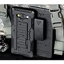 Galaxy A5 Case, Cocomii Robot Armor NEW [Heavy Duty] Premium Belt Clip Holster Kickstand Shockproof Hard Bumper Shell [Military Defender] Full Body Dual Layer Rugged Cover Samsung (Black)