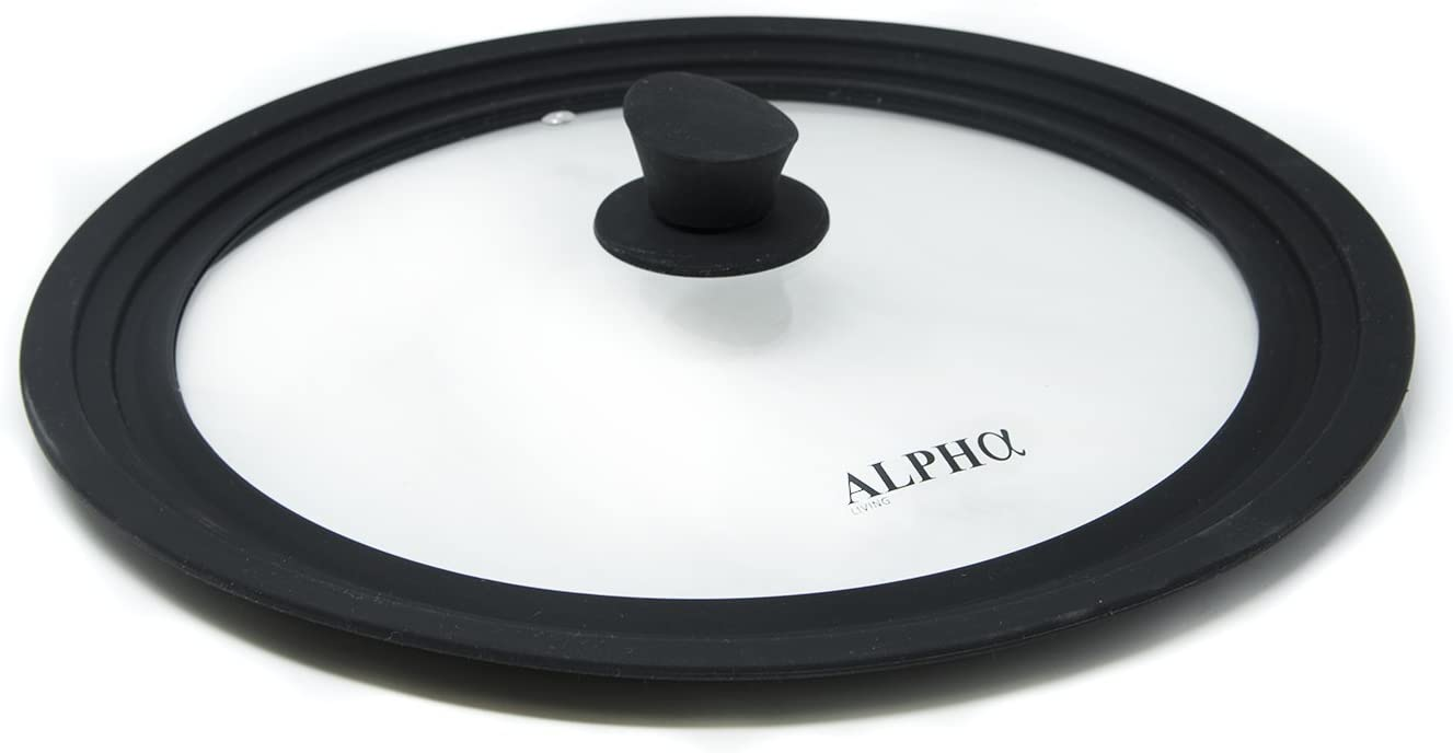 Alpha Living Universal Silicone Cookware Pots and Pans Vented Tempered Glass-Graduated Lid with Easy Grip Fits 9.5