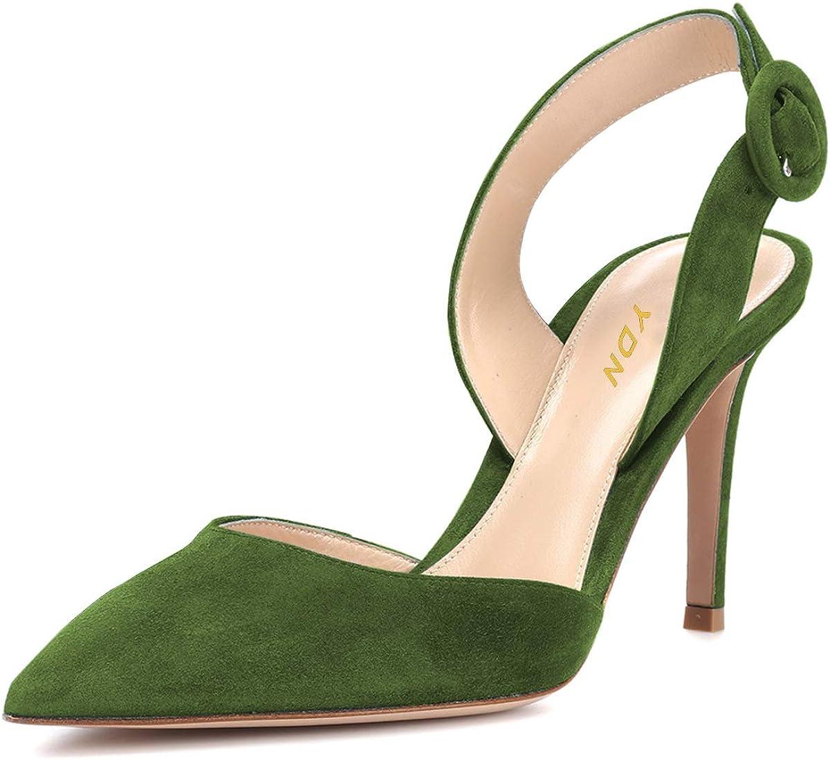 YDN Women Slingback D'Orsay 5 popular Pumps Popular popular Pointed High Slide Heel Toe Sa