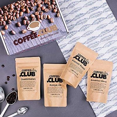 Coffee Club Fresh Roasted Gourmet Whole Bean Sampler Box Gift Set