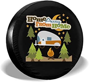 Home Away from Home Campfire Camping Spare Tire Cover Waterproof Dust-Proof UV Sun Wheel Tire Cover Fit for Jeep,Trailer, RV, SUV and Many Vehicle 14 Inch