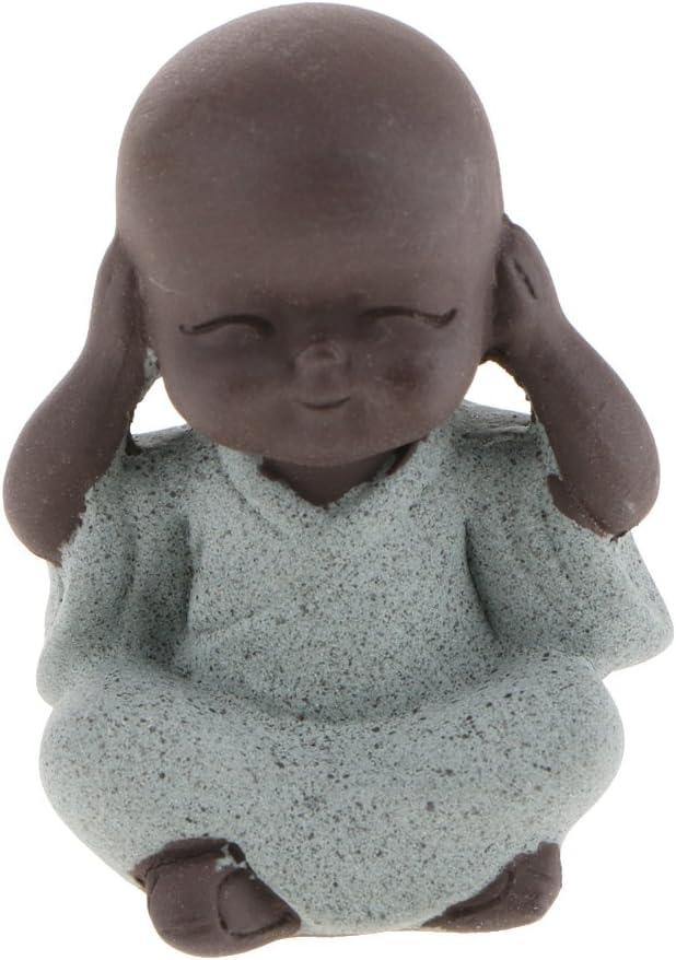 Baoblaze Little Buddha Statue Monk Tea Pet for Zen Garden Sand Decoration Yoga Meditation Blue