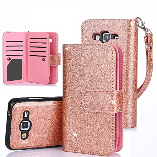 TabPow Galaxy J3 Case, 10 Card Slot - [ID Slot] Wallet Folio PU Leather Case Cover With Detachable Magnetic Hard Case For Samsung Galaxy J3 (2016)/ Express Prime / Amp Prime - Glitter Rose Gold