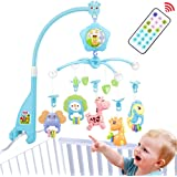 Baby Mobile for Crib, Baby Plush Crib Mobile with Lights and Music,Remote,Toys, Holder,Projector for Pack and Play (Blue…