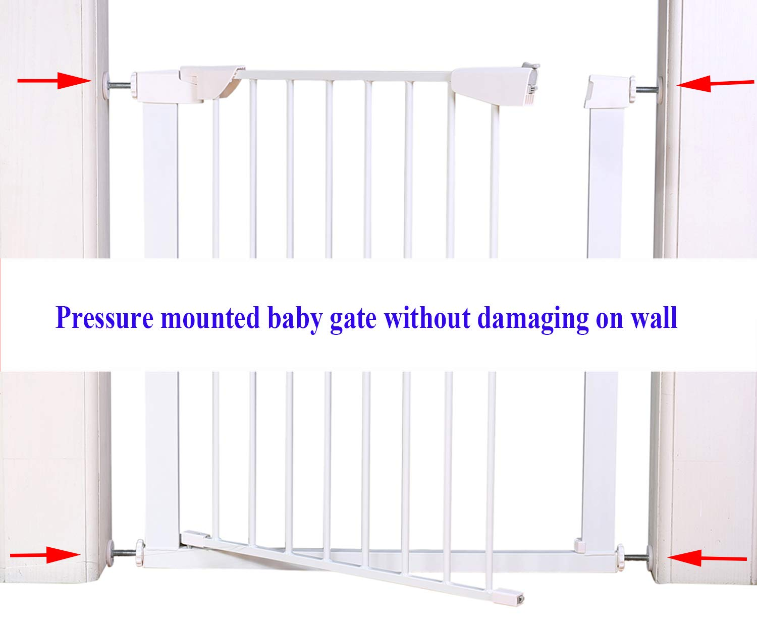 ALLAIBB Walk Thru Metal Baby Gate Pressure Mount Kit Auto Close Child Safety Gate Size 81.89''-84.65'' (White) by ALLAIBB (Image #5)