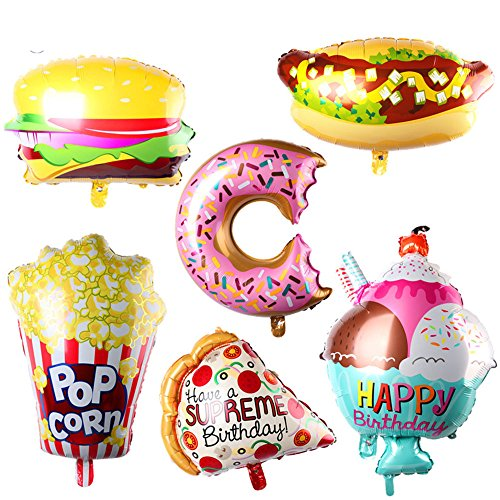 AnnoDeel 6pcs Giant Popcorn Food Mylar Balloons, 25inch Ice Cream Balloons Popcorn Balloons Hot Dog Balloons Hamburg Balloons Donut Balloons Pizza balloon for Hawaii Luau Balloons Party Decorations -