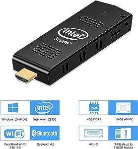 Mini PC Stick with Fan, Windows 10 Pro Intel Atom Z8350 Mini Computer, 4GB DDR3 64GB eMMC, Support 4K HD,2.4G/5G Dual Band WiFi AC, Bluetooth 4.2