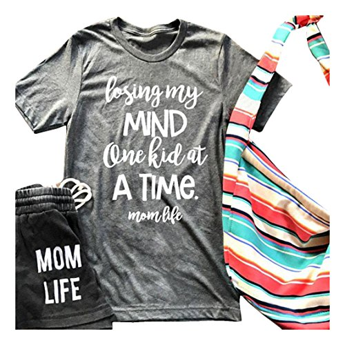 Women Summer Losing My Mind One Kid At Time Letters Printed Short Sleeve T-Shirt Size L (Gray)