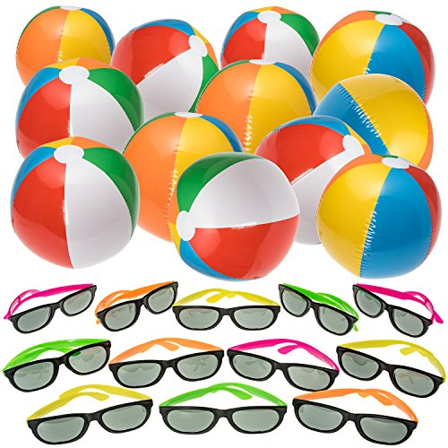 NJ Novelty Beach and Pool Party Favors - Inflatable Beach Balls and Neon Sunglasses Summer Party Set 24 Pieces Total, Rainbow -