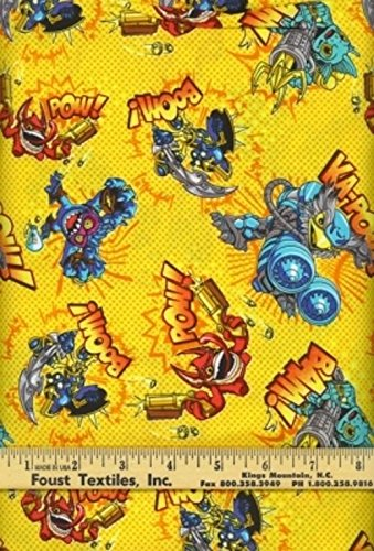 Camelot Skylanders 7510103 2 Yellow Toss SALE BTY Cotton Fabric supply:lauraotr -