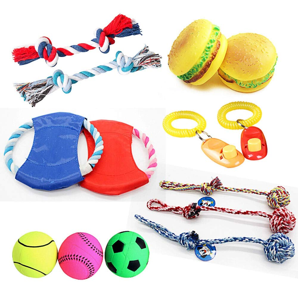 WEAO 6PCS Dog Toy Set Variety Toys Including, Cotton Rope, Training Dog Artifacts, colord Frisbee, Ball Cotton Rope, Simulated Burger, Rubber Bouncy Ball, One for Each (Random color)