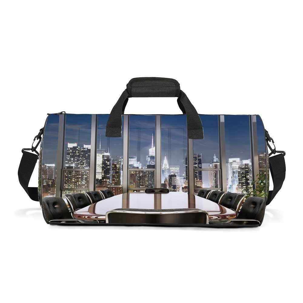 Modern Decor Fashion Women's Round Travel Duffle Bag,Business Office Conference Room Table Chairs City View at Dusk Realistic For traveling,19.6''L x 10.6''W x 12.5''H