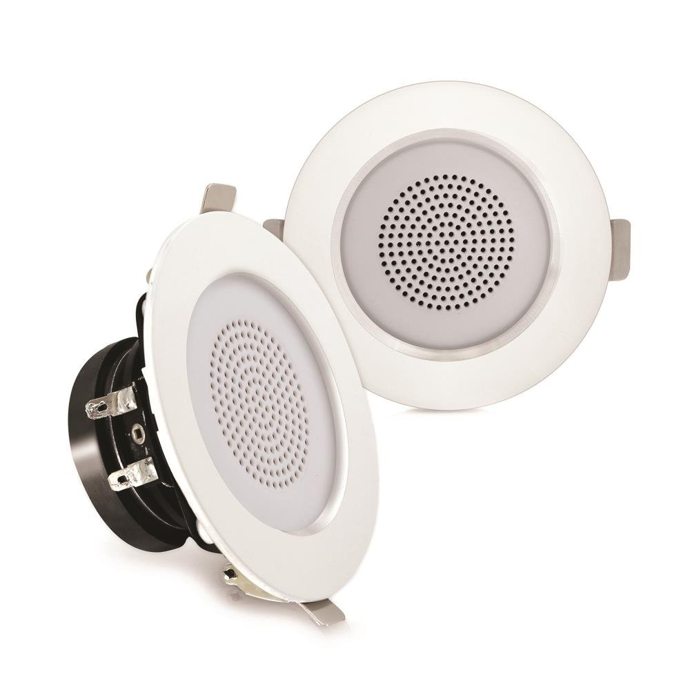 "Pyle Pair 3"" Flush Mount in-Wall in-Ceiling 2-Way Home Speaker System Aluminum Housing Spring Loaded Clips Dual Polypropylene Cone Polymer Tweeter Stereo Sound 100 Watts (PDIC3FR)"