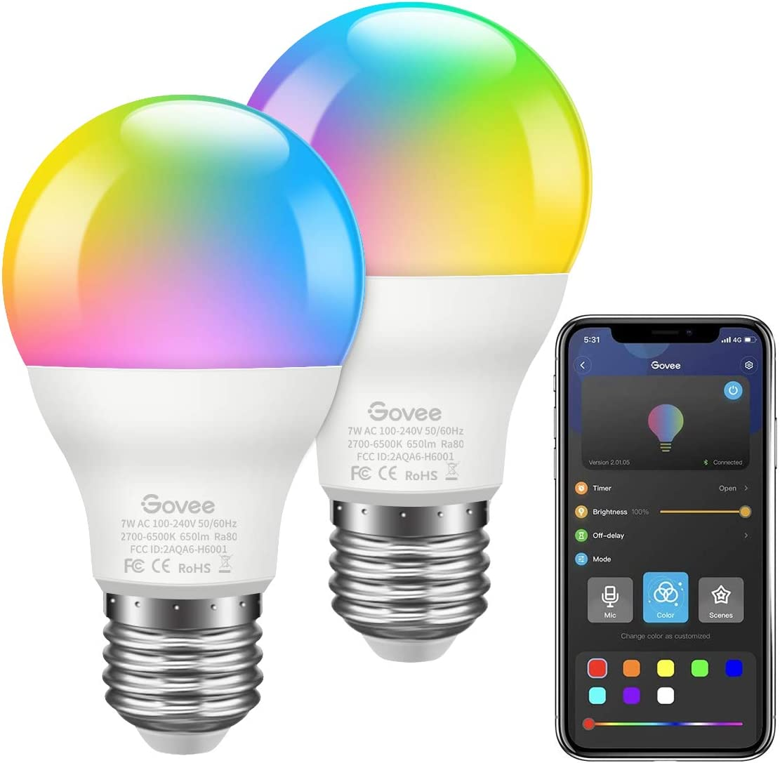 Govee LED Bulbs Dimmable 2Pack Music Sync RGB Color Changing Light Bulbs A19 7W 60W Equivalent, Multicolor Decorative No Hub Required Smart LED Bulbs with APP for Party Home Don t Support WiFi Alexa