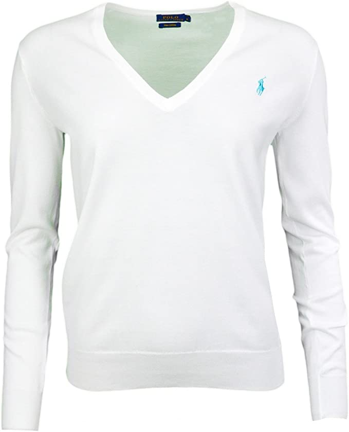 Polo Ralph Lauren Ls Vn-suéter Mujer blanco XL: Amazon.es: Ropa y ...