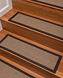 "carpet for stairs Natural Area Rugs 100% Natural Fiber Margot, Sisal Light Brown, Handmade Stair Treads Carpet Set of 13 (9""x29"") Fudge Border"