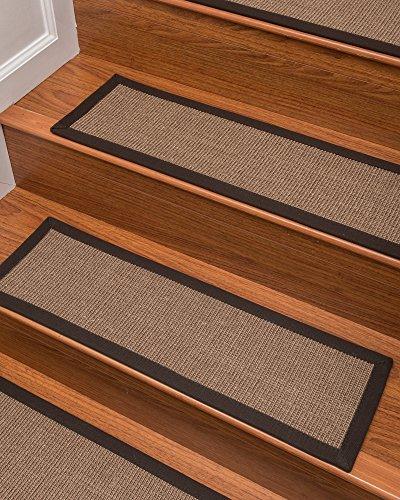 "Natural Area Rugs 100% Natural Fiber Margot, Sisal Light Brown, Handmade Stair Treads Carpet Set of 13 (9""x29"") Fudge Border"