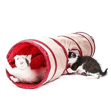 Dfghbn Sano Juguete para Gatos Tienda Plegable Cat Pass Pasarela Túnel de poliéster de Color sólido Túnel para Gatos Rollo Tierra Suministros para Gatos ...