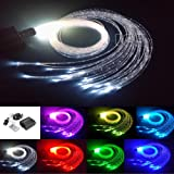 Premium 16W Optic Fiber Light Waterfall Effect Lamp Kit for House Decoration and Sensory Room of Autistic Kids and Disable, Flash Point Fiber Optic Cable【300pcs*0.75mm*3m】+ RGBW Light Engine Source