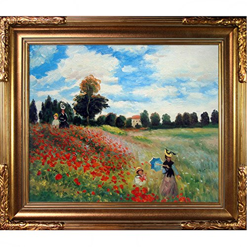 overstockArt MON578-FR-608G20X24 Claude Monet Poppy Field in Argenteuil 20-Inch by 24-Inch Framed Oil on Canvas (Field Argenteuil Poppy)