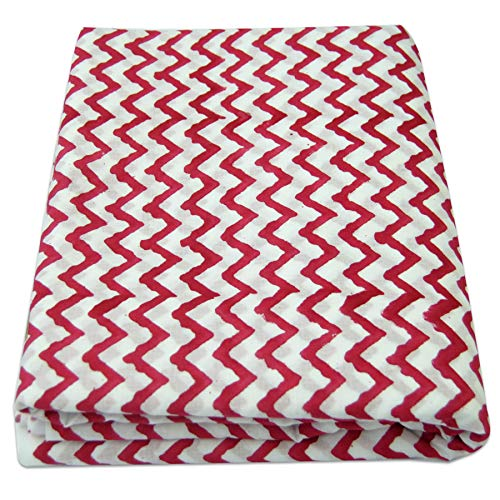 - 5 Yard Block Printed Indian Fabric, Voile 100% Cotton Dress Material, Zigzag Print