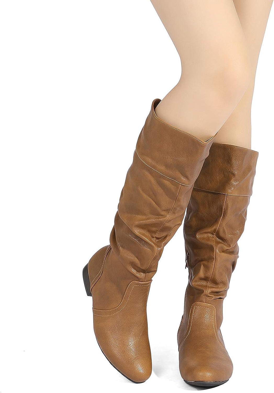 DREAM PAIRS Womens Flat Knee High Boots
