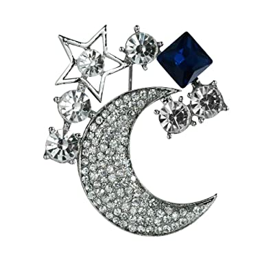 176ffe31390 Mamfous Multicolor Austrain Crystal Moon Star Brooch for Women with Rhinestone  Jewelry (Silver)