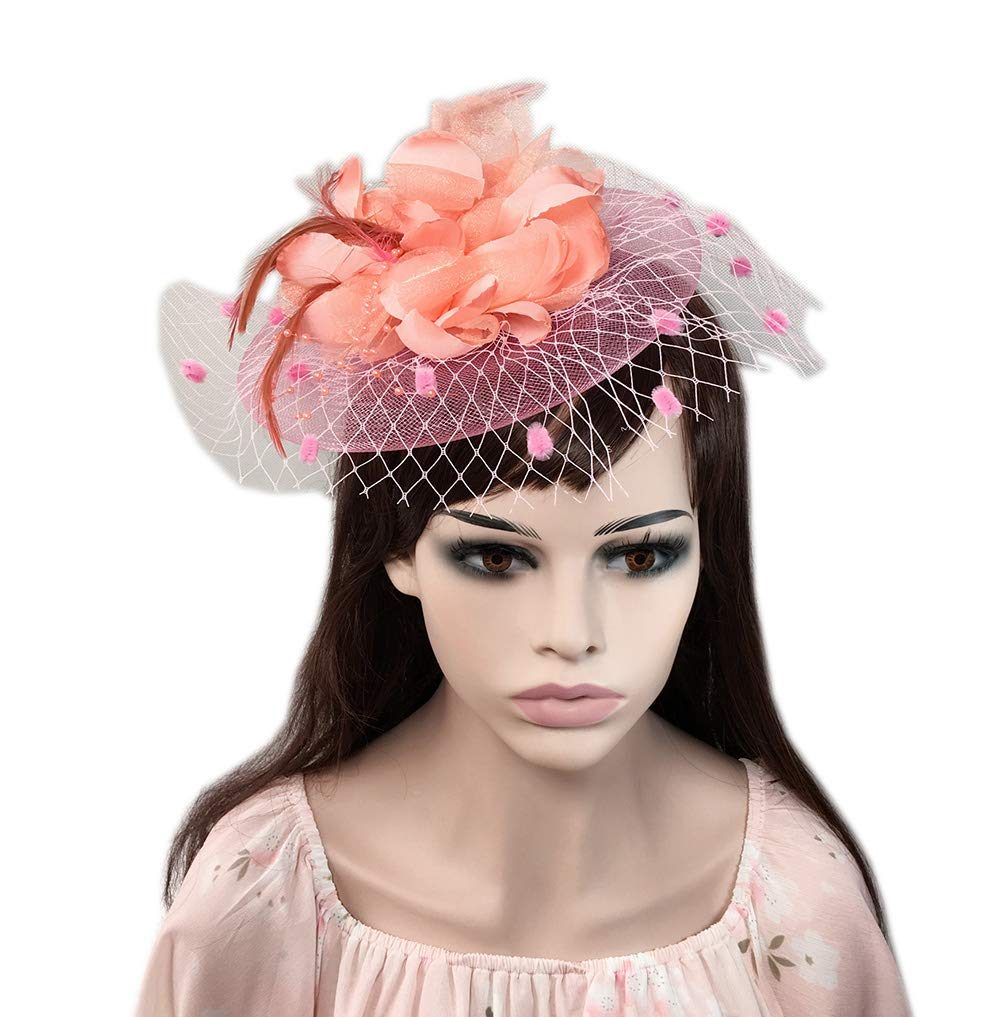 YSJOY Womens Feather Flower Bow Sinamay Fascinator Wedding Hair Aceessory Church British Bowler Hat Summer Derby Hat Cocktail Tea Party Hat Pink