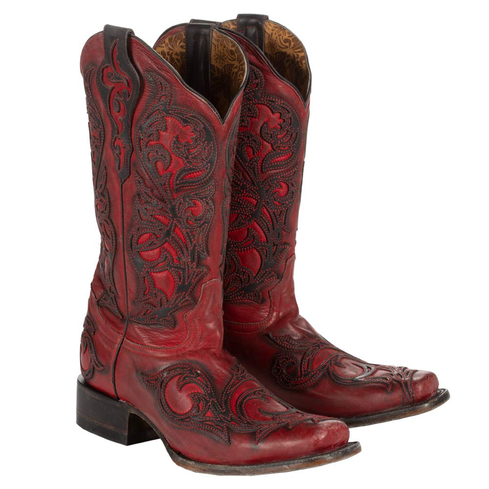 798115caa5e CORRAL Women's Red with Black Overlay Square Toe Cowgirl Boots G1468