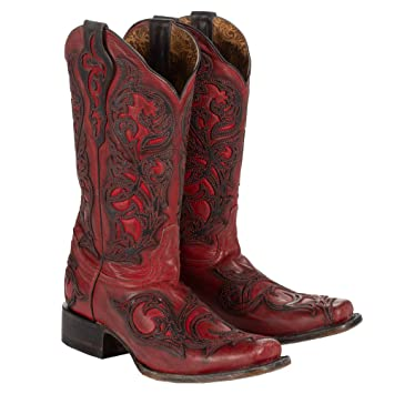 faa32f34a3a CORRAL Women's Red with Black Overlay Square Toe Cowgirl Boots G1468
