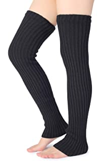 5900fc3ba Pareberry Women's Winter Over Knee High Footless Socks Knit Warm Long Leg  Warmers