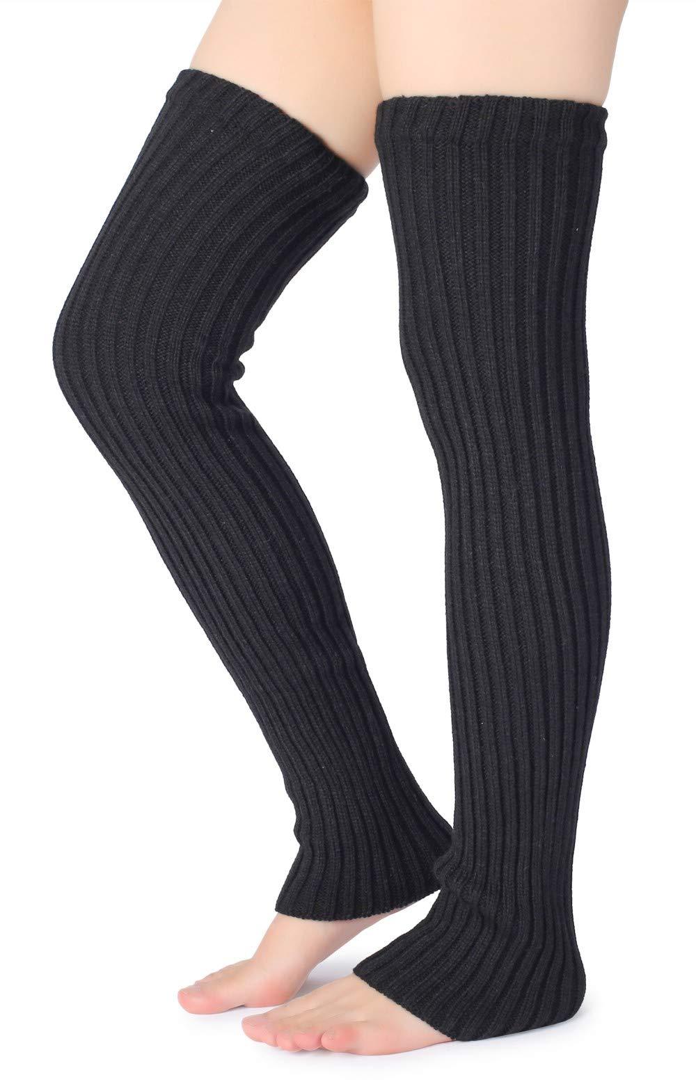 Eleray Women's Winter Over Knee High Footless Socks Knit Warm Long Leg Warmers (Black)