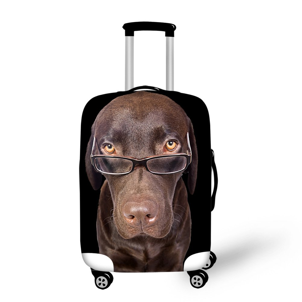 Cute Pet Glasses Dog Printing Travel Luggage Protector Cover Anti-Scratch M