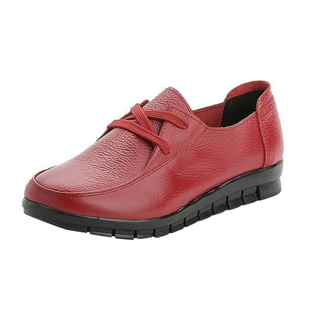 Frauen Schnürsenkel Freizeit Schuhe Büro Arbeit Schule Casual Mokassin Pumps Flache Schuhe Braun (37) Yiiquan oIFzdw84