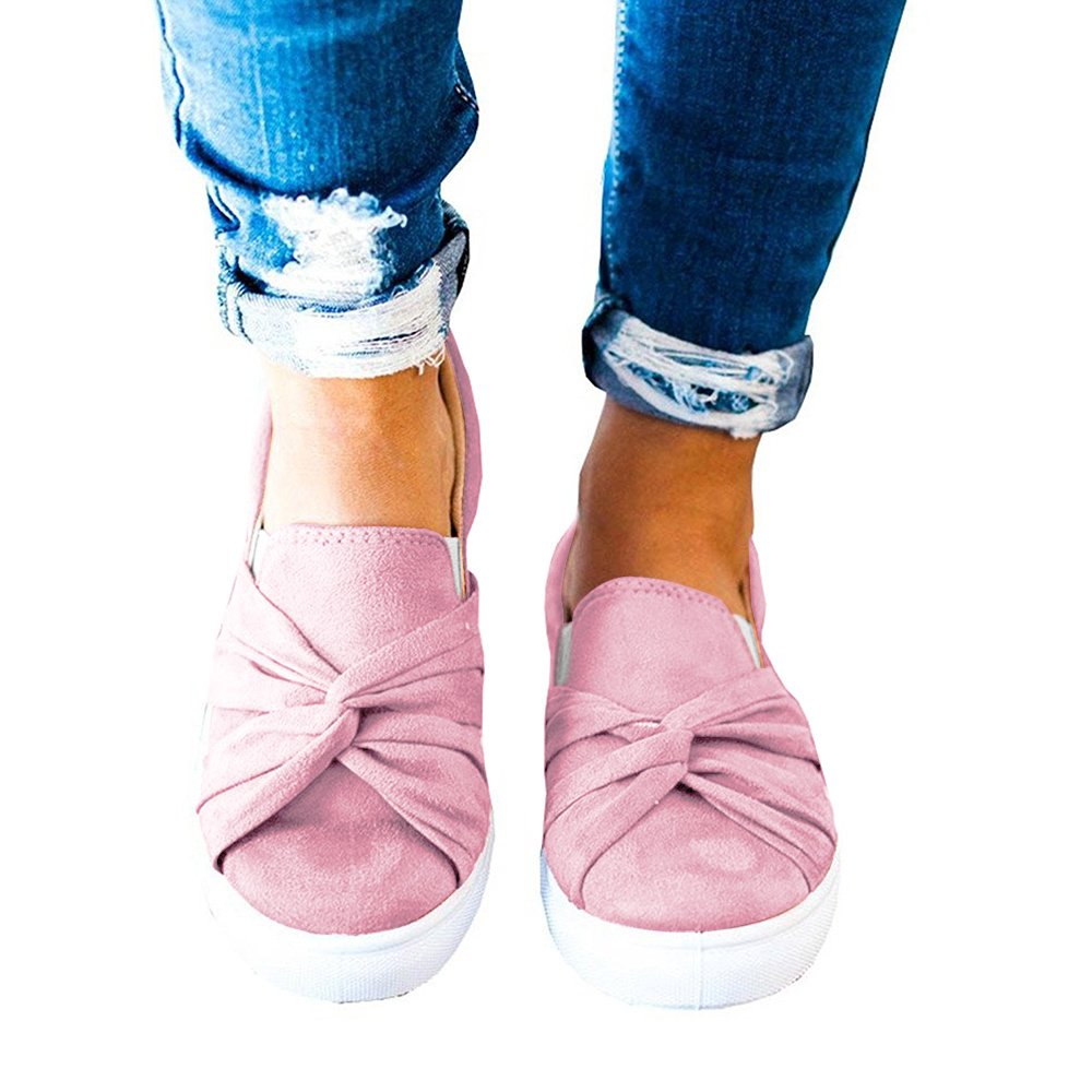 XMWEALTHY Women's Slip-on Loafers Top Suede Bowknot Flatform Fashion Sneakers Pink US 9.5