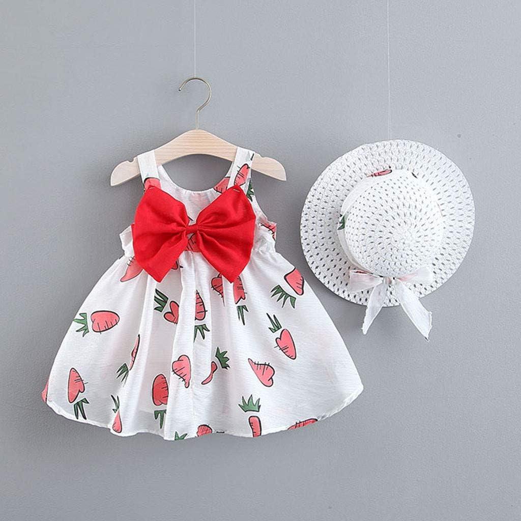 Orange,80//7//8//L Evansamp-Kleinkind-Baby-Rock-Frucht-Karotten-Druck-Bogen-Prinzessin Dress Casual Clothes Hat Neues Baby-Kleid