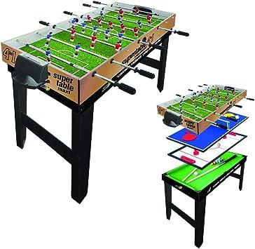 SPORT ONE WAC Fútbol Futbolín bilardino Sala 4 in 1 Futbolín 4 VS4, Ping Pong, Billar, Hockey: Amazon.es: Deportes y aire libre